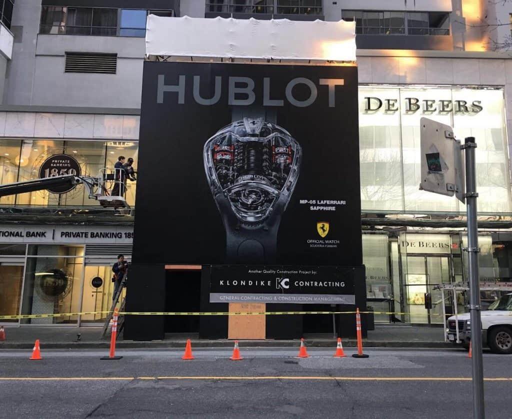 Hublot hoarding signage