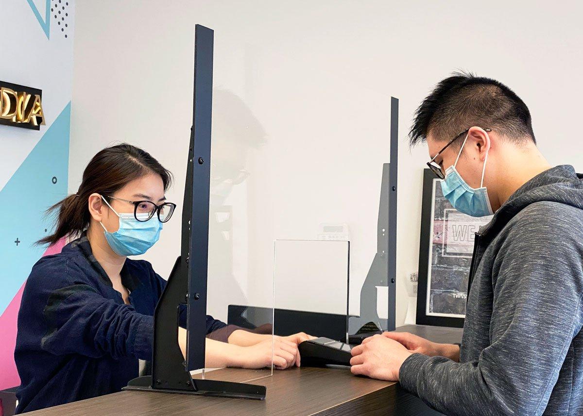 Sneeze guard Plexiglass Barrier with custom die cut opening - Twiistedmedia