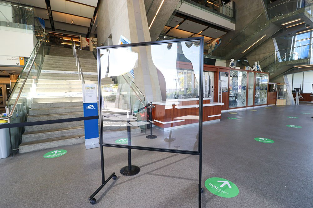 Sneeze Guard Plexiglass Barrier Acrylic Floor Stand Richmond Oval Vancouver 2