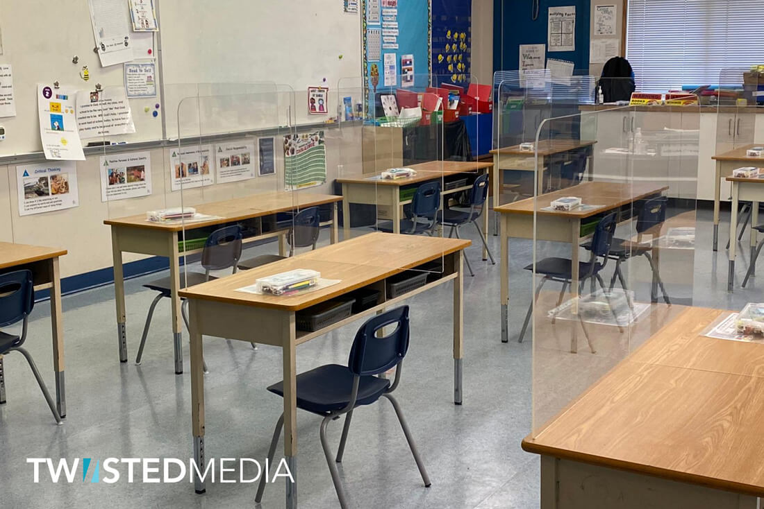 students desk sneeze guard