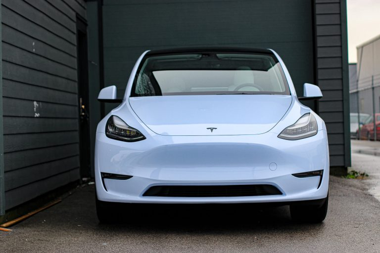 Tesla model y gloss blue wrap