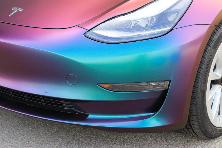 Tesla Model 3 car wrap_chameleon wrap_vancouver