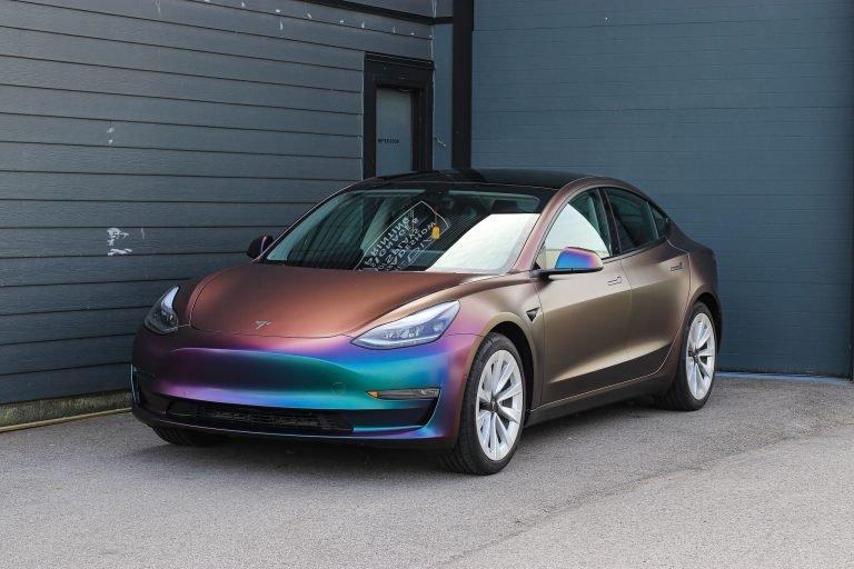Tesla Model 3 color change car wrap vancouver