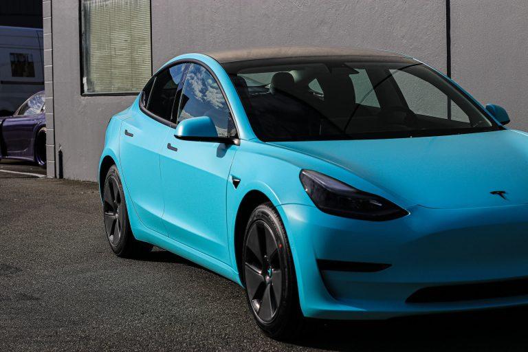 Tesla Model 3 Tiffany Blue / Satin Key west Wrap Richmond