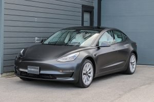 Tesla Model 3 vinyl car wrap matte dark grey